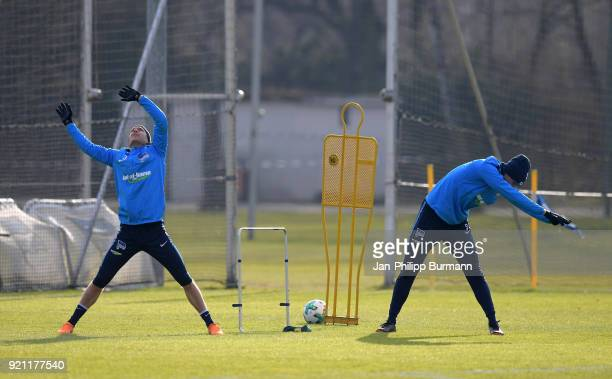 Per Skjelbred and Niklas Stark of Hertha BSC stretch during the training at the Schenkendorfplatz on february 19 2018 in Berlin Germany