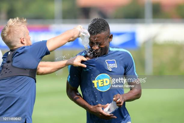 Per Skjelbred and Salomon Kalou of Hertha BSC during the training camp on August 5 2018 in Schladming Austria