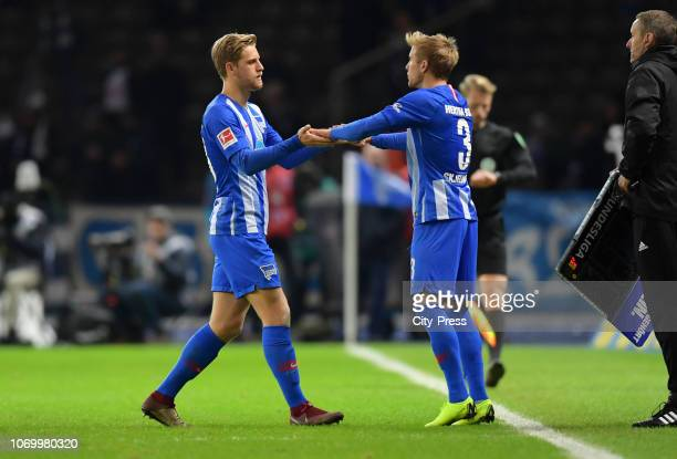 Per Skjelbred comes on during a substitute for Arne Maier of Hertha BSC during the game between Hertha BSC and Eintracht Frankfurt at the...