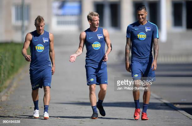 Per Skjelbred Fabian Lustenberger and Davie Selke of Hertha BSC before the Training on july 3 2018 in Berlin Germany