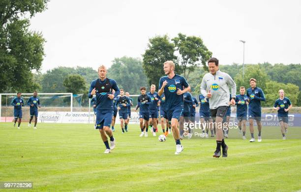 Per Skjelbred Fabian Lustenberger Henrik Kuchno during the Hertha BSC training camp on july 13 2018 in Neuruppin Germany