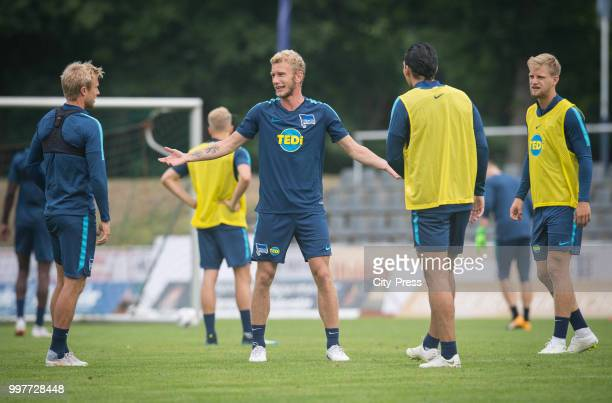 Per Skjelbred Fabian Lustenberger Karim Rekik Arne Maier during the Hertha BSC training camp on july 13 2018 in Neuruppin Germany