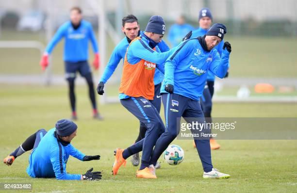 Per Skjelbred Karim Rekik Davie Selke and Julian Schieber of Hertha BSC during a training session at Schenkendorfplatz on February 27 2018 in Berlin...