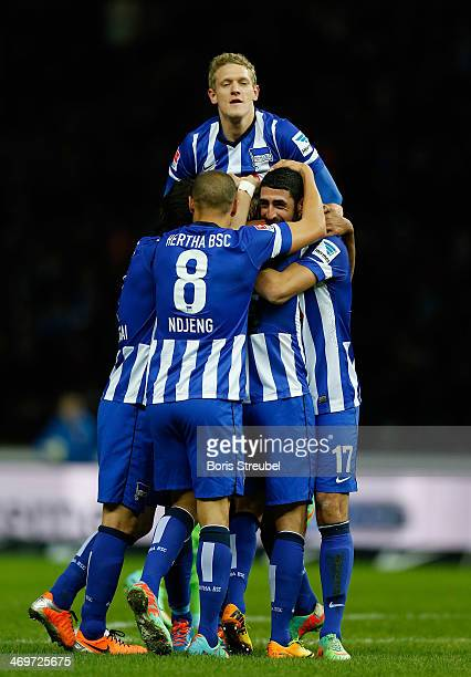 Per Skjelbred of Berlin celebrates his team's first goal with his team during the Bundesliga match between Hertha BSC and VfL Wolfsburg at...