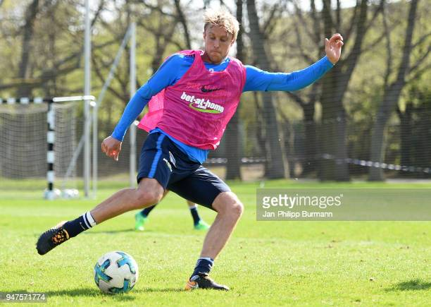 Per Skjelbred of Hertha BSC during the training at the Schenkendorfplatz on april 17 2018 in Berlin Germany