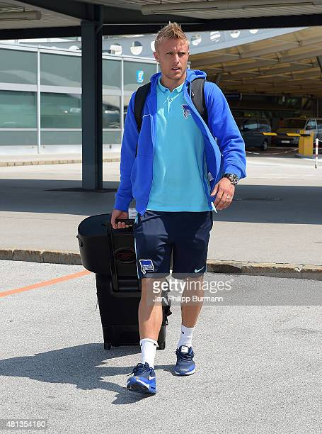 Per Skjelbred of Hertha BSC during their arrival at Salzburg Airport ahead of the training camp in Schladming on July 19 2015 in Salzburg Austria