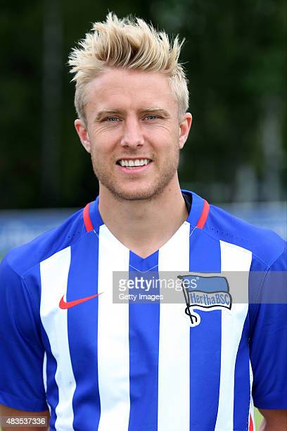 Per Skjelbred poses during the Hertha BSC team presentation on July 10 2015 in Berlin Germany