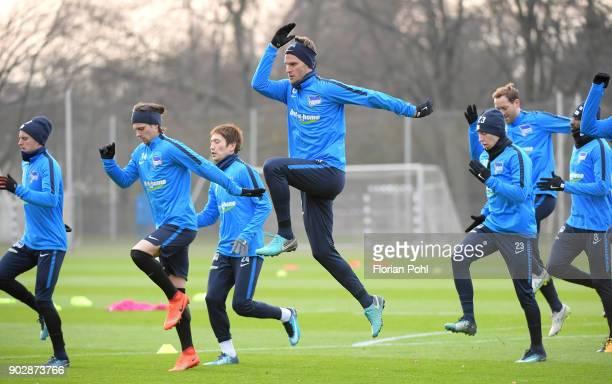 Per Skjelbred Valentin Stocker Genki Haraguchi Sebastian Langkamp Mitchell Weiser Julian Schieber and Salomon Kalou of Hertha BSC during the training...