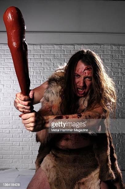 Per Spjotvold of Norwegian caveman death metal band Goat The Head portrait shoot on October 18 2007