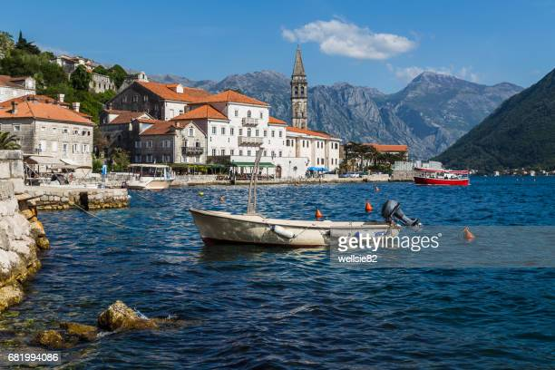 perast in the bay of kotor - montenegro imagens e fotografias de stock