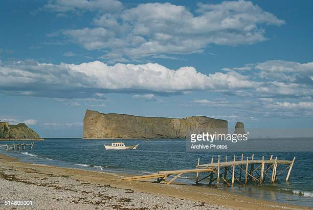Percé Rock in the Gulf of Saint Lawrence on the Gaspé Peninsula in Quebec Canada 1958
