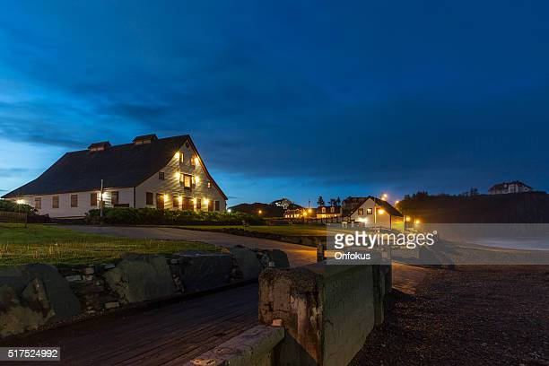 perce rock township at night, quebec canada - gaspe peninsula stock pictures, royalty-free photos & images
