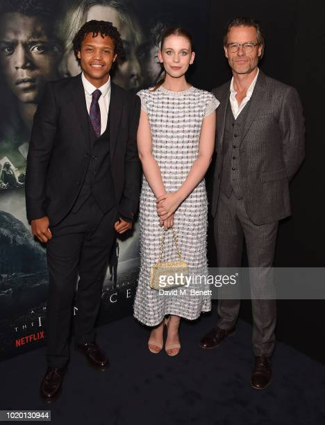 Percelle Ascott Sorcha Groundsell and Guy Pearce attend a special screening of The Innocents at The Curzon Mayfair on August 20 2018 in London England