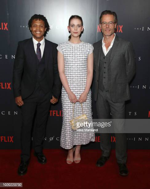 Percelle Ascott Sorcha Groundsell and Guy Pearce attend a special screening of the Netflix show The Innocents at The Curzon Mayfair on August 20 2018...