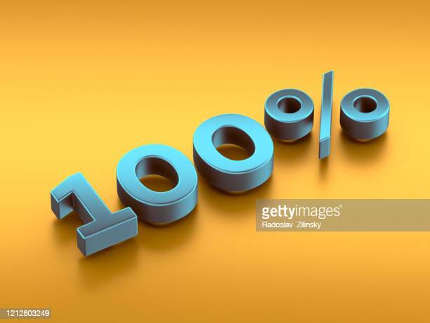 100% percentage number on orange background 3d - financial figures stock pictures, royalty-free photos & images