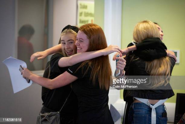 Pupils from King David High School in Liverpool receiving their GCSE exam results Around 90 pupils gathered at the school where the results were...