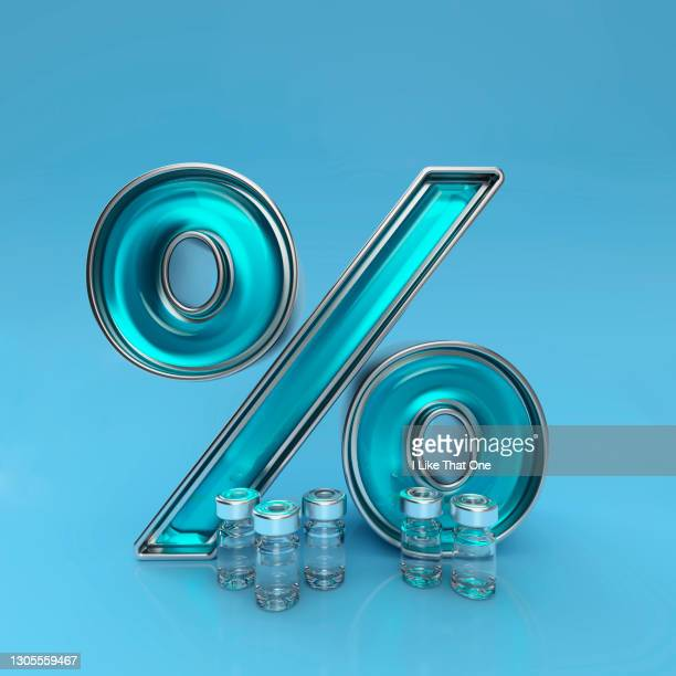 a percentage sign stands behind five medicine bottles - atomic imagery stock pictures, royalty-free photos & images