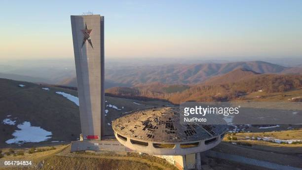 Perched like a UFO the Buzludzha Monument near the town of Kazanlak east of the Bulgarian capital Sofia Tuesday April 2017 was built by the Bulgarian...