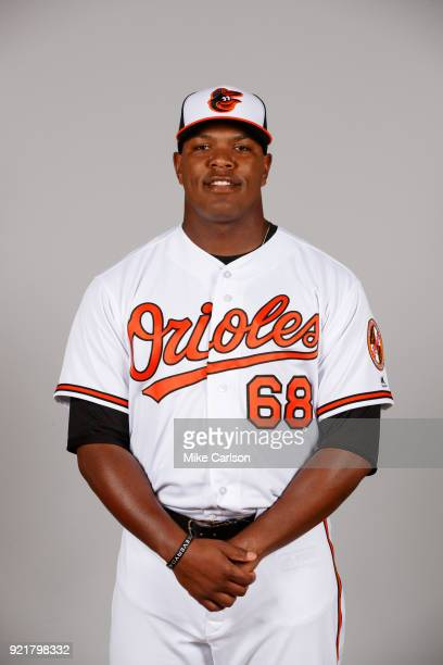 Perci Garner of the Baltimore Orioles poses during Photo Day on Tuesday February 20 2018 at Ed Smith Stadium in Sarasota Florida