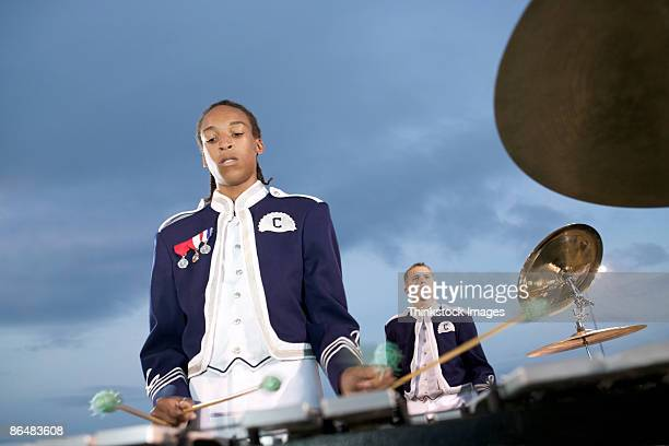 percussion section of marching band - marching band stock pictures, royalty-free photos & images