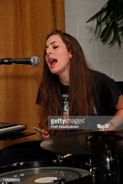 Percussionist Alana Haim of HAIM performs at the Nudie Jeans event at the Palihouse on May 22 2012 in West Hollywood California