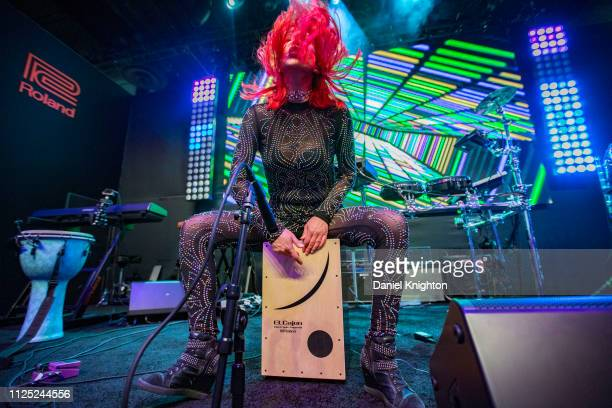 Percussionist Chastity Ashley performs on stage at the Roland booth during the 2019 NAMM Show at Anaheim Convention Center on January 26, 2019 in...