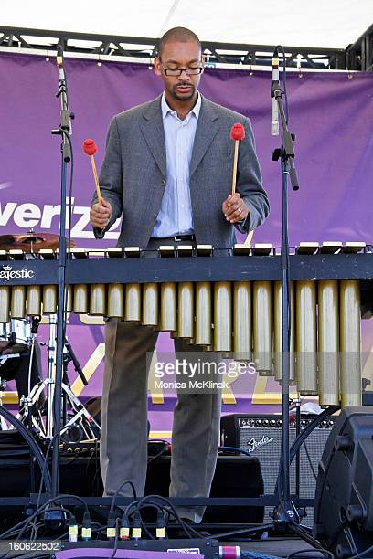 Percussionist Jason Marsalis performs on xylophone with Tim Laughlin during the Verizon Super Bowl Boulevard at Woldenberg Park on February 3 2013 in...