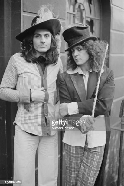 Percussionist Mickey Finn and singer Marc Bolan of British glam rock group T Rex posed outside a terraced house in London on 20th November 1972.