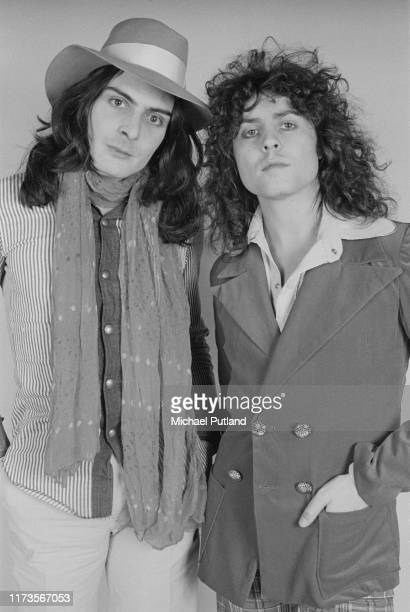 Percussionist Mickey Finn and singer Marc Bolan of British glam rock group T Rex posed on 20th November 1972.