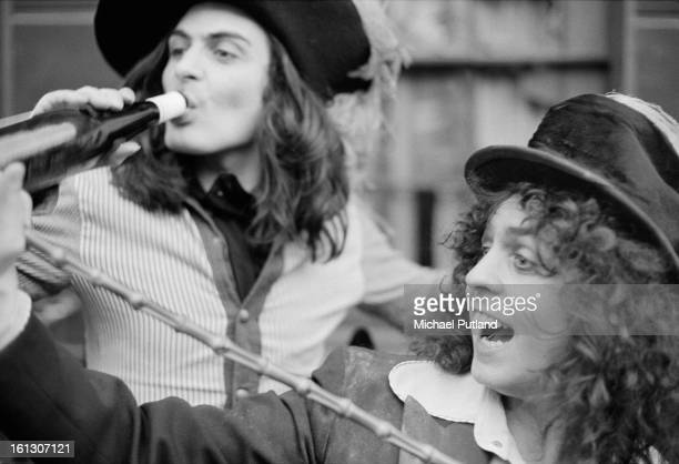Percussionist Mickey Finn and singer Marc Bolan of British glam rock group T-Rex, 20th November 1972.