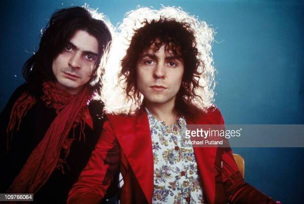 Percussionist Mickey Finn and singer Marc Bolan of TRex pose in 1972