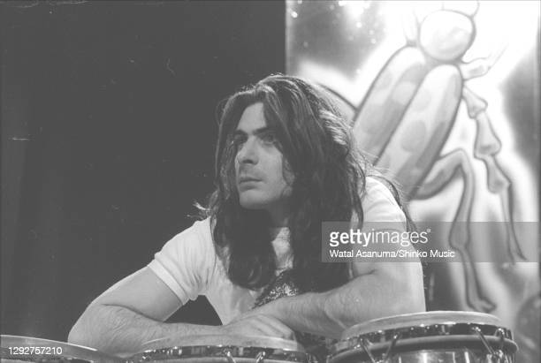 Percussionist Mickey Finn of English glam rock group T Rex performs the group's single '20th Century Boy' on the BBC music television show 'Top of...