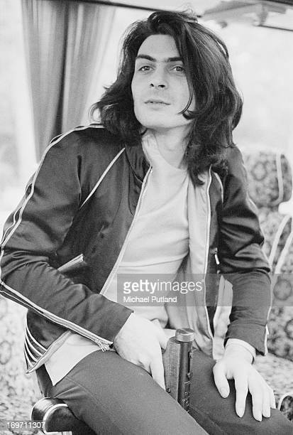 Percussionist Mickey Finn , of English glam rock group T-Rex, on a tour bus before a concert at Newcastle City Hall, 24th June 1972.