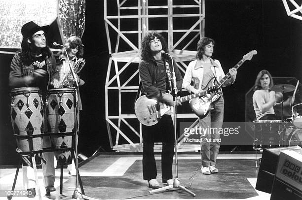 Percussionist Mickey Finn , singer and guitarist Marc Bolan , bassist Steve Currie and drummer Bill Legend of T-Rex performing on the BBC television...