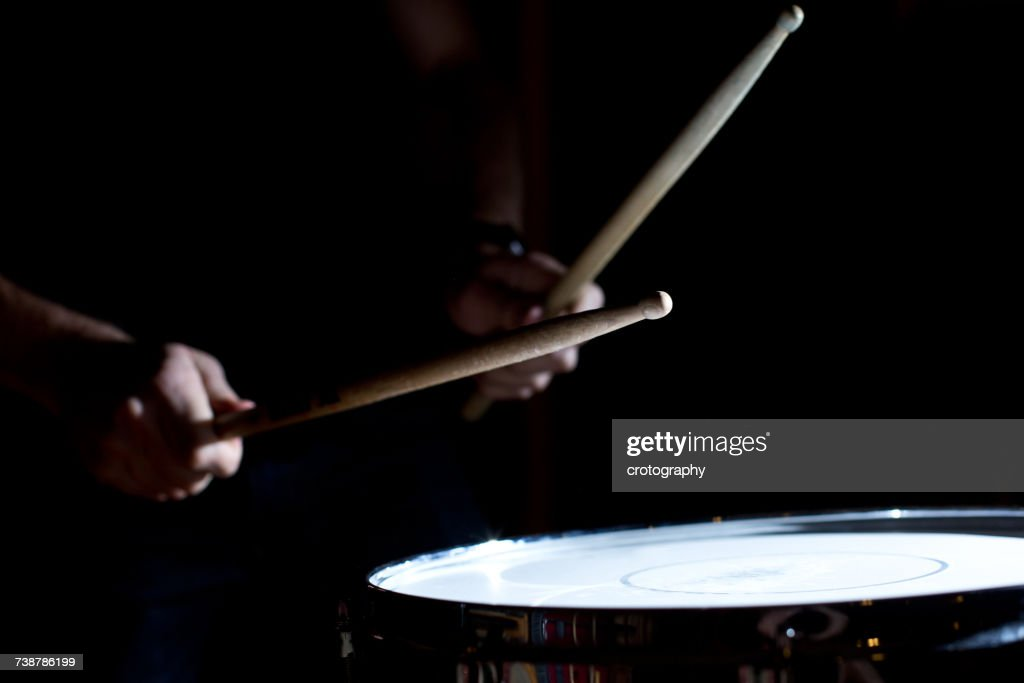 Percussionist playing drums in a recording studio : ストックフォト