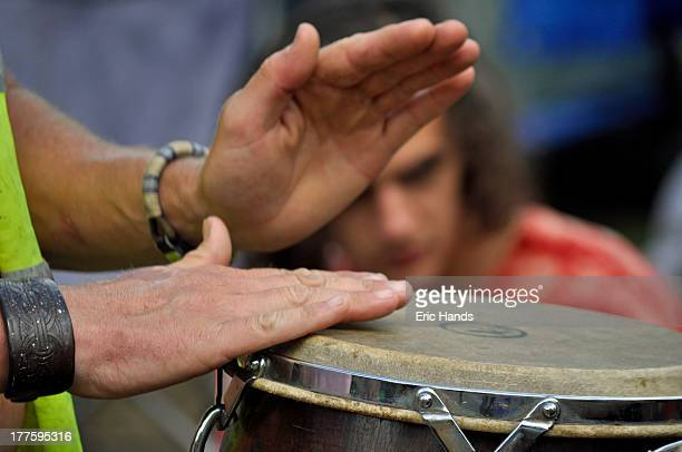 Percussionist plays during environmental protests at Balcombe, where drilling by Cuadrilla has led to fears about the possible use of fracking.
