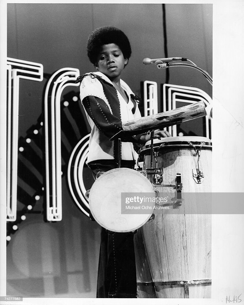 Percussionist Randy Jackson performs on the TV Show 'Soul Train' with the R&B quintet 'Jackson 5' in circa 1975 in Los Angeles, California.