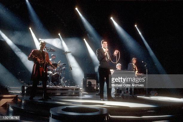 Percussionist Steve Norman drummer John Keeble singer Tony Hadley keyboardist Jess Bailey guitarist Gary Kemp and of the pop band Spandau Ballet...