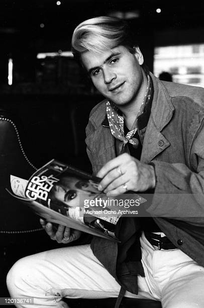 Percussionist Steve Norman of the pop band 'Spandau Ballet' holds an issue of Tiger Beat Magazine as he poses for a portrait session in 1985 in New...