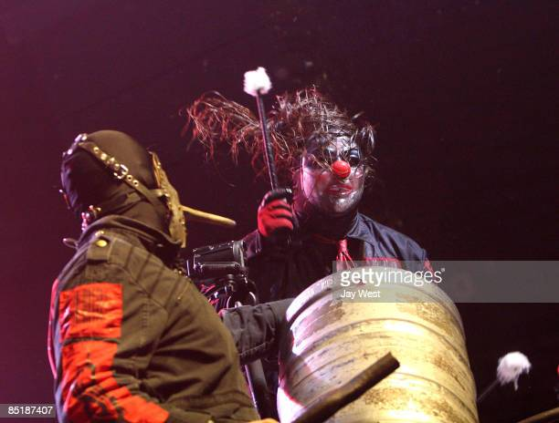 Percussionists Chris Fehn and Shawn Clown Crahan of Slipknot perform in concert at The Freeman Coliseum on March 1 2009 in San Antonio Texas