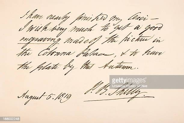 Percy Bysshe Shelley 1792 – 1822 English Romantic Poet Hand Writing Sample