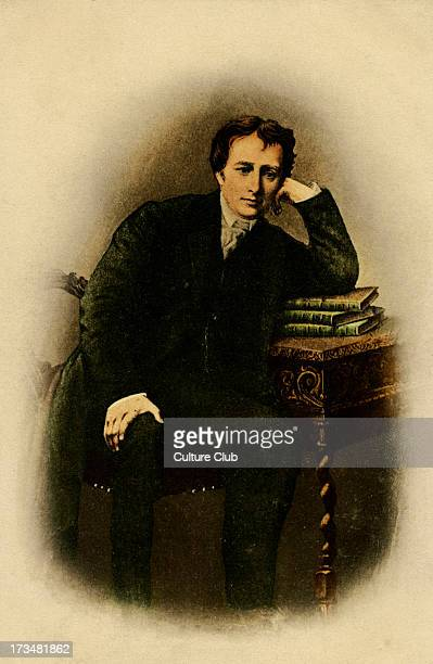 Percy Bysshe Shelley leaning on desk English Poet Wrote Betrice Cenci