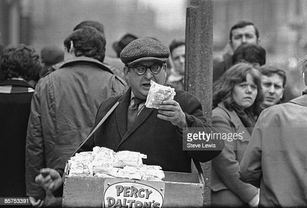 A Percy Dalton's peanut seller at the dog track in the East End of London 1960s