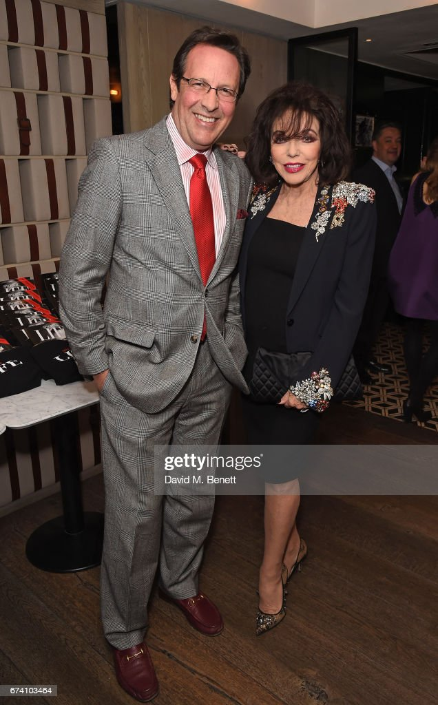 Percy Gibson and Joan Collins attend the Spectator Life 5th Birthday Party at the Hari Hotel on April 27, 2017 in London, England.