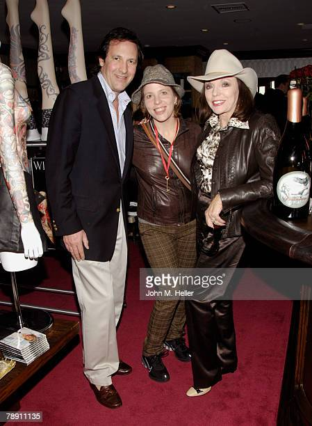Percy Gibson Katy Kass and Joan Collins attends the Secret Room Celebrity Gifting Suite Day 2 for the 66th Annual Golden Globe Awards at Metro...