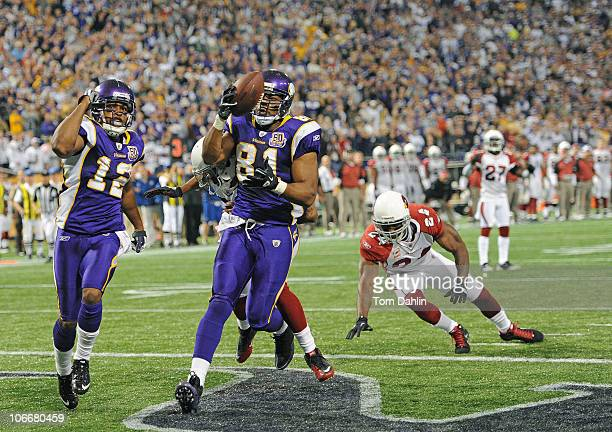 Percy Harvin and Visanthe Shiancoe of the Minnesota Vikings celebrate a touchdown during an NFL game against the Arizona Cardinals at Mall of America...