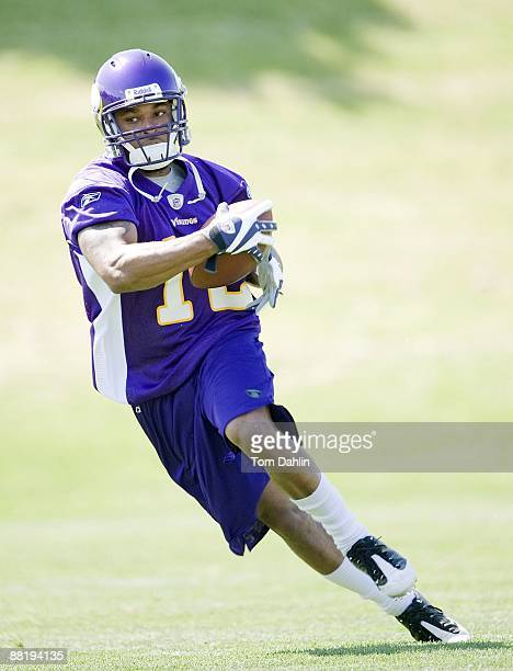 Percy Harvin carries the ball during the Minnesota Vikings mini camp on May 31 2009 at Winter Park in Eden Prairie Minnesota