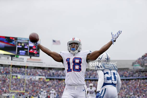Percy Harvin of the Buffalo Bills celebrates his touchdown against the Indianapolis Colts during the first half at Ralph Wilson Stadium on September...