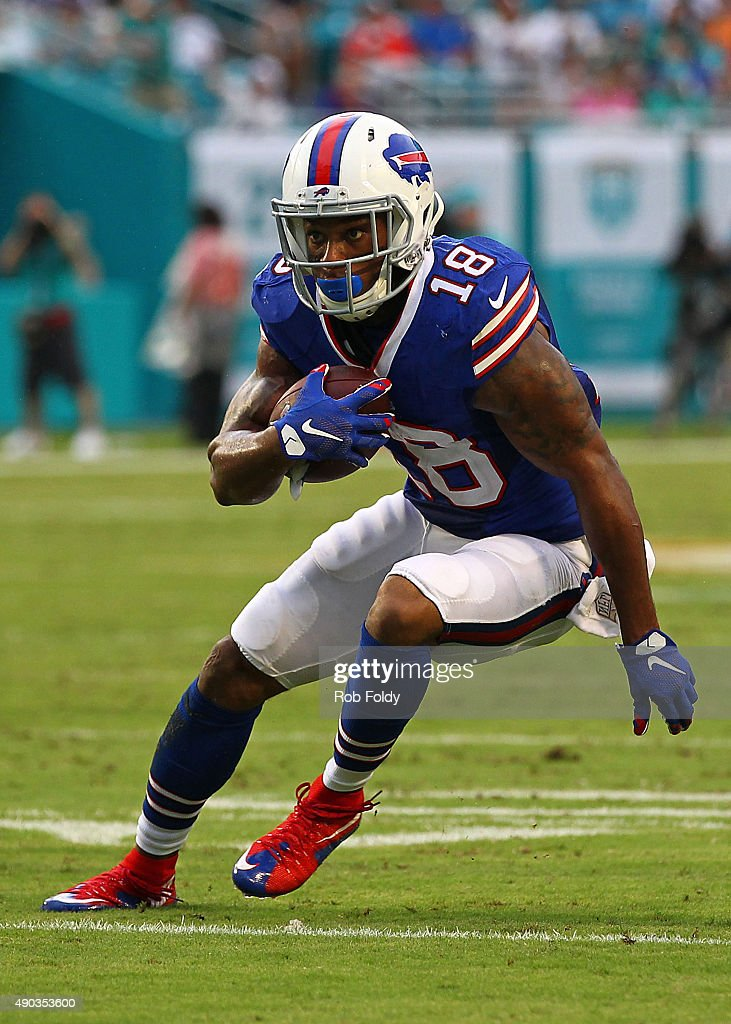 Percy Harvin #18 of the Buffalo Bills in action during the game against the Miami Dolphins at Sun Life Stadium on September 27, 2015 in Miami Gardens, Florida.