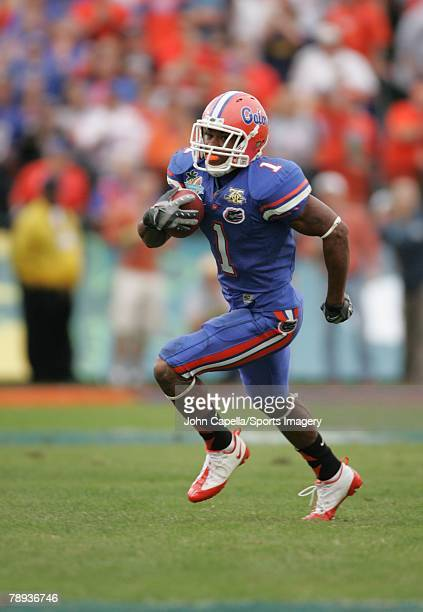 Percy Harvin of the Florida Gators after cathcing a pass against the Michigan Wolverines in the Capital One Bowl at Florida Citrus Bowl on January 1...
